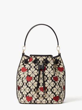 spade flower jacquard hearts medium bucket bag