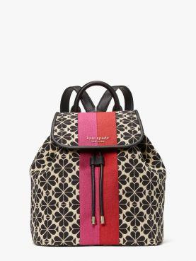 spade flower jacquard stripe market medium flap backpack