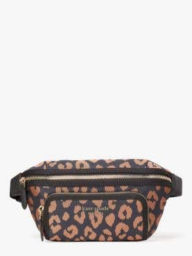 sam the little better leopard jacquard medium belt bag