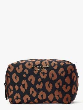 everything puffy leopard jacquard large cosmetic