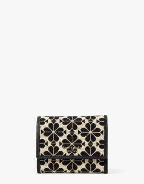 spade flower jacquard small zip wallet