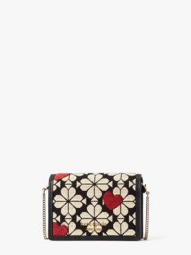 spade flower jacquard card case on chain