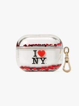 i heart ny x kate spade new york liquid glitter airpods pro case