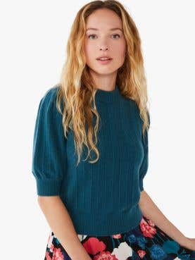 cashmere puff-sleeve sweater
