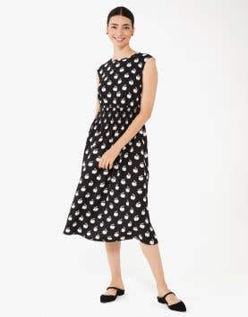 apple toss smocked-waist dress