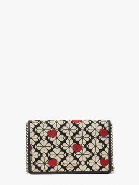 spade flower jacquard wallet on chain