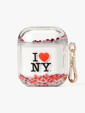 i heart ny x kate spade new york liquid glitter airpods case