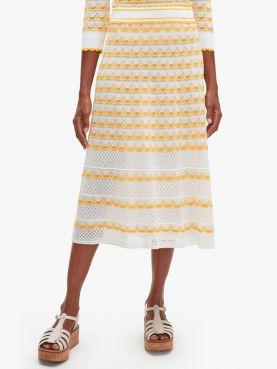 striped pointelle knit skirt