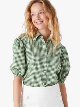 mini gingham button-front shirt
