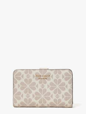 spade flower coated canvas compact wallet