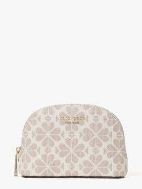 spade flower coated canvas small dome cosmetic
