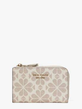 spade flower coated canvas key pouch