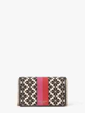 spade flower jacquard stripe wallet on chain