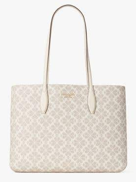 all day spade flower coated canvas large tote
