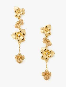 precious pansy pave linear earrings